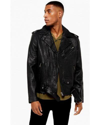 Кожаная куртка черная осенняя Topman