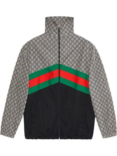 Черная спортивная куртка винтажная с поясом на молнии Gucci