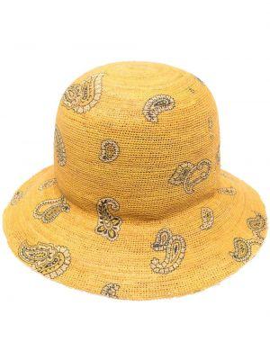 Żółty kapelusz bawełniany z printem Etro