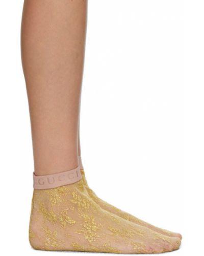 Złote różowe wysoki skarpety z siateczką Gucci