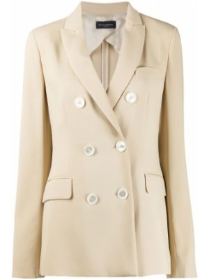 С рукавами коричневая куртка двубортная Piazza Sempione