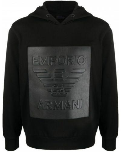 Czarny pulower z długimi rękawami z kapturem Emporio Armani