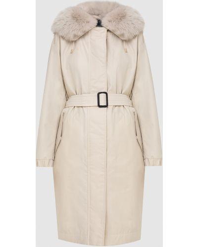Бежевая куртка с мехом из лисы Max Mara