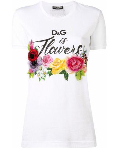 Футболка белая с цветочным принтом Dolce & Gabbana