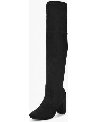 Ботфорты на каблуке замшевые черные Topway