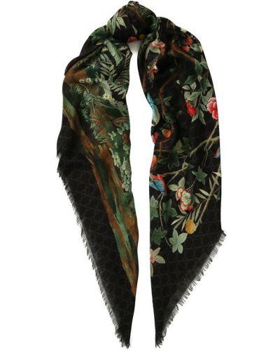 Черный шарф с бахромой Gucci