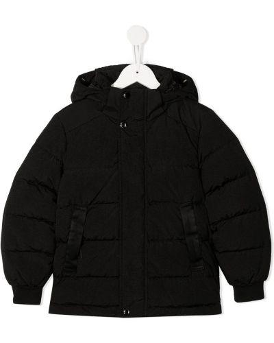 Черный пуховый пуховик с капюшоном на молнии с карманами Cp Company Kids