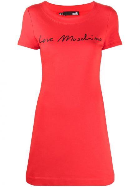 Хлопковое с рукавами красное платье-рубашка Love Moschino