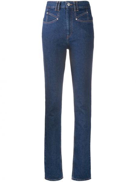 Bawełna niebieski jeansy na wysokości z kieszeniami chudy Isabel Marant