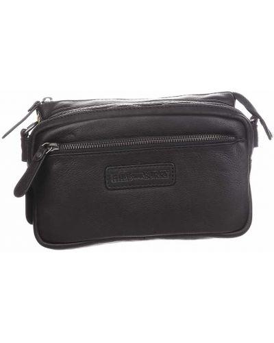 Кожаная поясная сумка - черная Hill Burry
