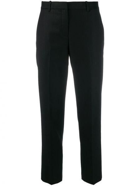 Шерстяные черные укороченные брюки с карманами с низкой посадкой Theory