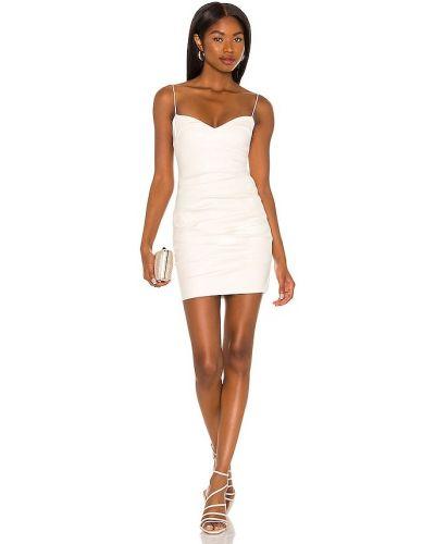 Белое кожаное платье мини Nookie