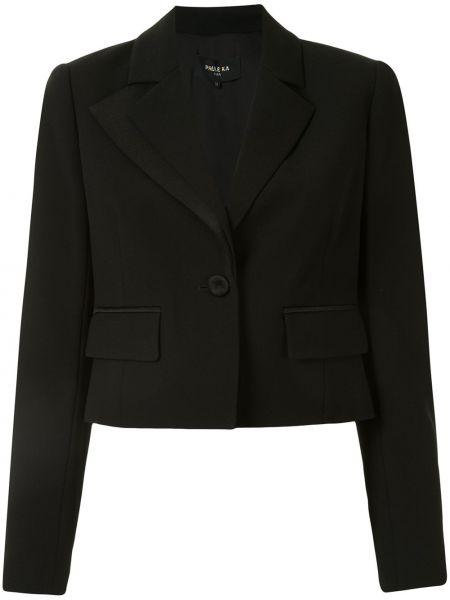 Черный удлиненный пиджак для полных с карманами Paule Ka