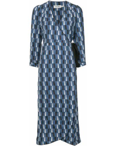 Однобортное драповое приталенное облегающее платье на молнии Cefinn