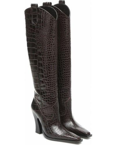 Коричневые сапоги на шпильке из натуральной кожи до середины колена Tom Ford