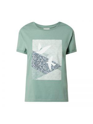 Zielony t-shirt bawełniany z printem Armedangels