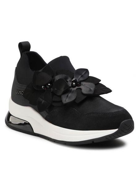 Sneakersy na koturnie skorzane - czarne Liu Jo