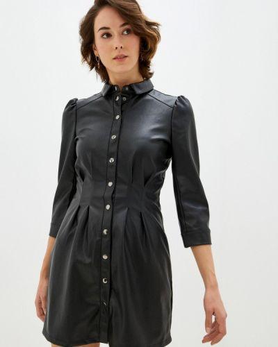 Кожаное черное платье Naf Naf