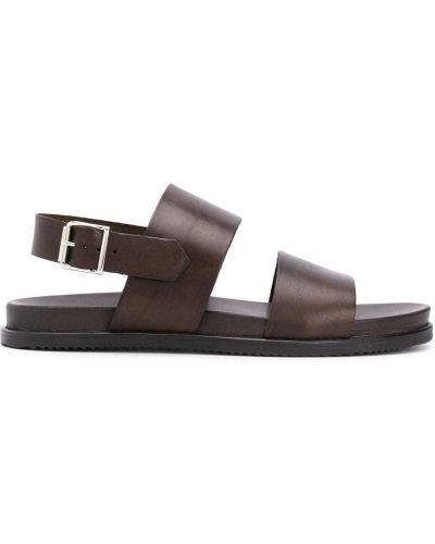 Brązowy otwarty z paskiem skórzany sandały Scarosso