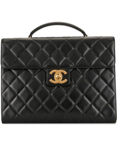 Стеганый кожаный черный портфель Chanel Pre-owned