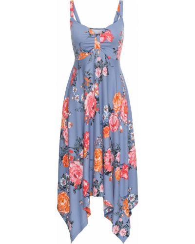 Платье миди с цветочным принтом со складками Bonprix