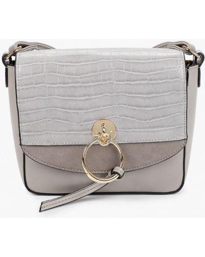 Кожаная сумка через плечо - серая Fabretti