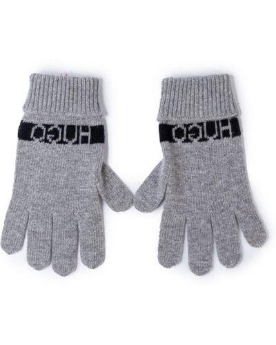 Szare rękawiczki Hugo