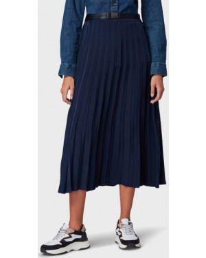 Плиссированная юбка джинсовая синяя Tom Tailor Denim