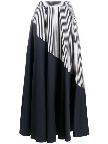 Расклешенная синяя плиссированная юбка из вискозы со вставками Palmer / Harding