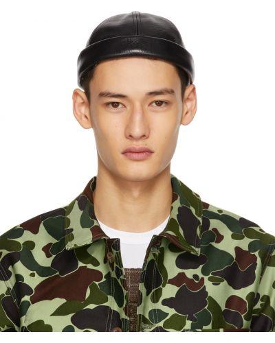 Czarna czapka z haftem skórzana Junya Watanabe