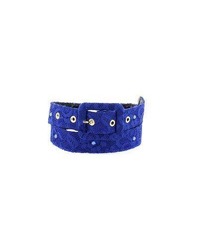 Синий кожаный ремень Elisa Fanti
