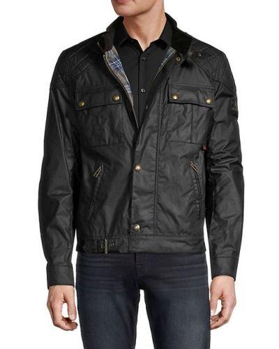 Czarna długa kurtka pikowana bawełniana Belstaff