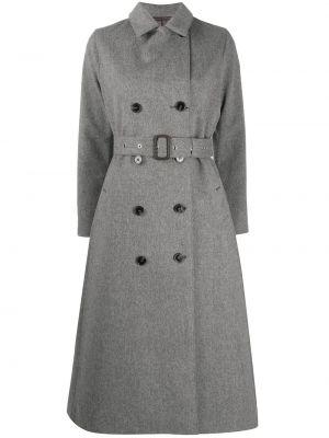Шерстяное серое пальто на пуговицах с лацканами Mackintosh