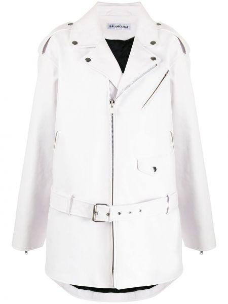 Кожаная куртка оверсайз - белая Balenciaga