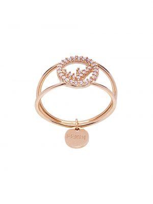 Кольцо металлическое - розовое Fendi