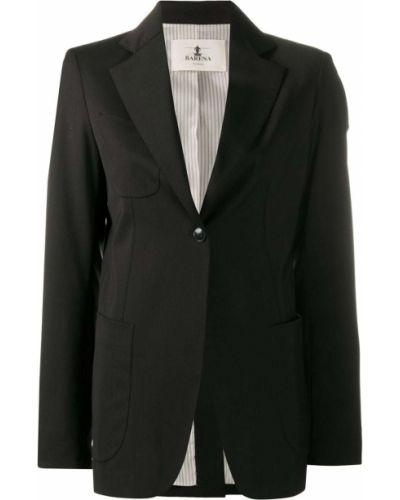 Однобортный черный удлиненный пиджак на пуговицах с карманами Barena