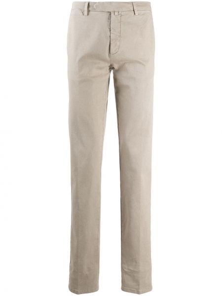 Beżowe spodnie bawełniane z paskiem Borrelli