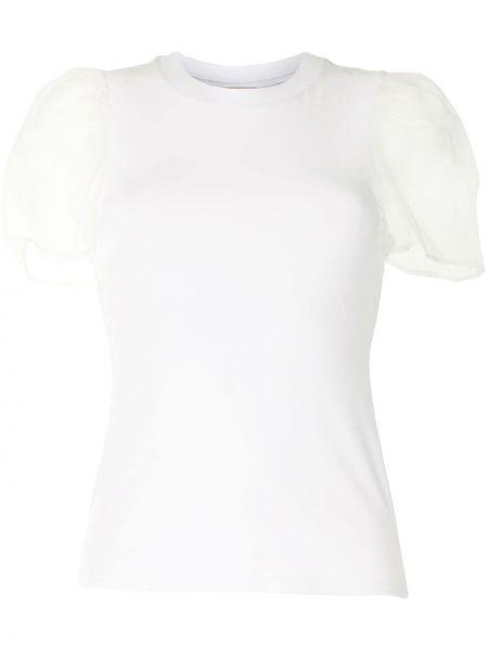 Белая шелковая прямая футболка с круглым вырезом Cinq À Sept