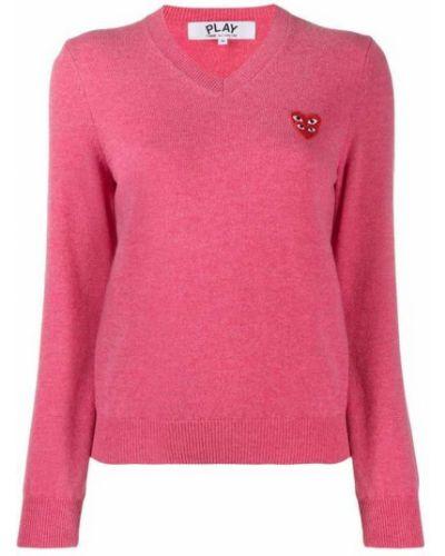 Z rękawami wełniany długi sweter z dekoltem Comme Des Garcons Play