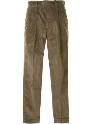 Брючные прямые брюки с карманами вельветовые хаки Pt01
