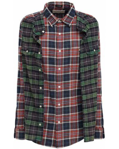 Фланелевая красная рубашка на пуговицах R13