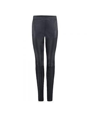 Czarne spodnie skorzane z paskiem Ibana