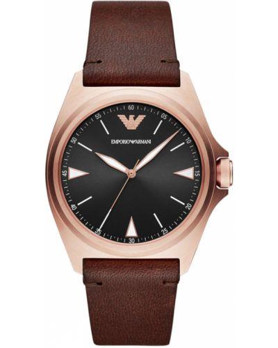 Złoty zegarek kwarcowy z paskiem Emporio Armani