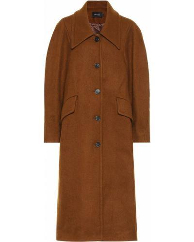 Однобортное коричневое шерстяное пальто классическое Low Classic