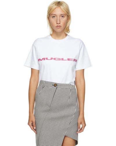 С рукавами розовая рубашка с вышивкой с воротником Mugler