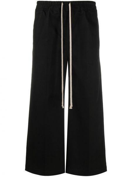 Хлопковые брючные черные расклешенные укороченные брюки Rick Owens Drkshdw