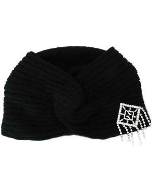 Czarny turban wełniany vintage Gucci