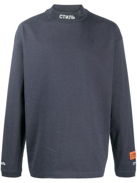 Prosto niebieski bluza z długimi rękawami z łatami Heron Preston