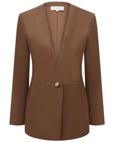 Кожаный пиджак - коричневый Vince.