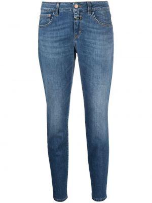 Хлопковые синие укороченные джинсы на молнии Closed